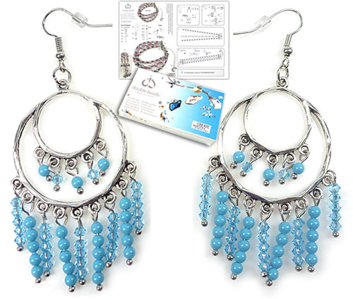 www.beadyourfashion.com - DoubleBeads Jewelry Kit Blue Sky earrings ± 7cm with SWAROVSKI ELEMENTS pearls, beads and various other materials (such as metal accessories)