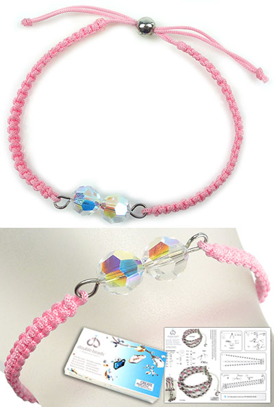 www.beadyourfashion.com - DoubleBeads Jewelry Kit Lollipop bracelet, inner size ± 16-24cm, with SWAROVSKI ELEMENTS beads and various other materials (such as silk cord and metal accessories)