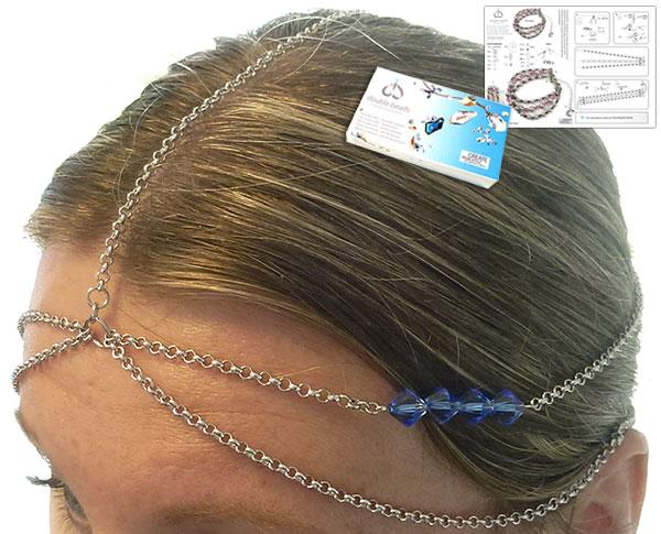 www.beadyourfashion.nl - DoubleBeads Sieradenpakket Cleopatra haarsieraad ± 60cm met SWAROVSKI ELEMENTS kralen en diverse materialen (o.a. metalen accessoires)