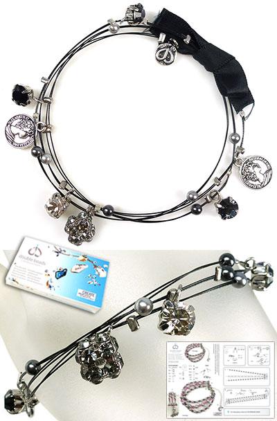 www.beadyourfashion.nl - DoubleBeads Sieradenpakket Glam Wire armband, binnenmaat ± 21cm, met SWAROVSKI ELEMENTS parels, similistenen en diverse andere materialen (o.a. lint en metalen accessoires)