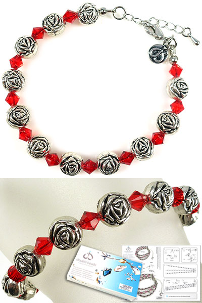 www.beadyourfashion.com - DoubleBeads Jewelry Kit Roses bracelet, inner size ± 20-25cm, with SWAROVSKI ELEMENTS beads and various other materials (such as metal accessories)