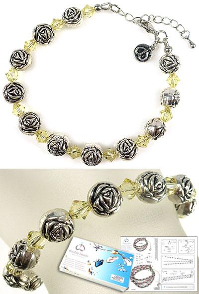 www.beadyourfashion.nl - DoubleBeads Sieradenpakket Roses armband, binnenmaat ± 20-25cm, met SWAROVSKI ELEMENTS kralen en diverse andere materialen (o.a. metalen accessoires)