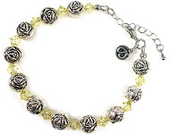DoubleBeads Jewelry Kit Roses bracelet, inner size ± 20-25cm, with SWAROVSKI ELEMENTS beads and various other materials (such as metal accessories)