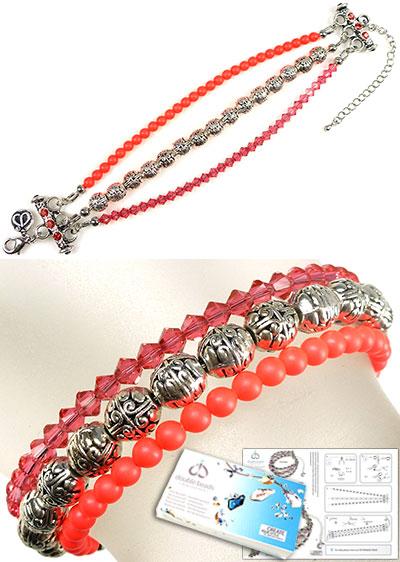 www.beadyourfashion.nl - DoubleBeads Sieradenpakket Sunny armband, binnenmaat ± 17-24cm, met SWAROVSKI ELEMENTS parels, kralen, similistenen en diverse metalen accessoires