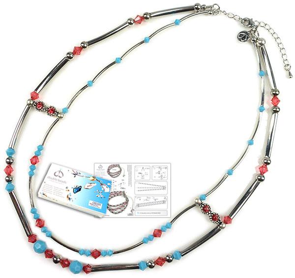 www.beadyourfashion.nl - DoubleBeads Sieradenpakket Bollywood halsketting ± 45-52cm, met SWAROVSKI ELEMENTS kralen en diverse andere materialen (o.a. metalen accessoires)