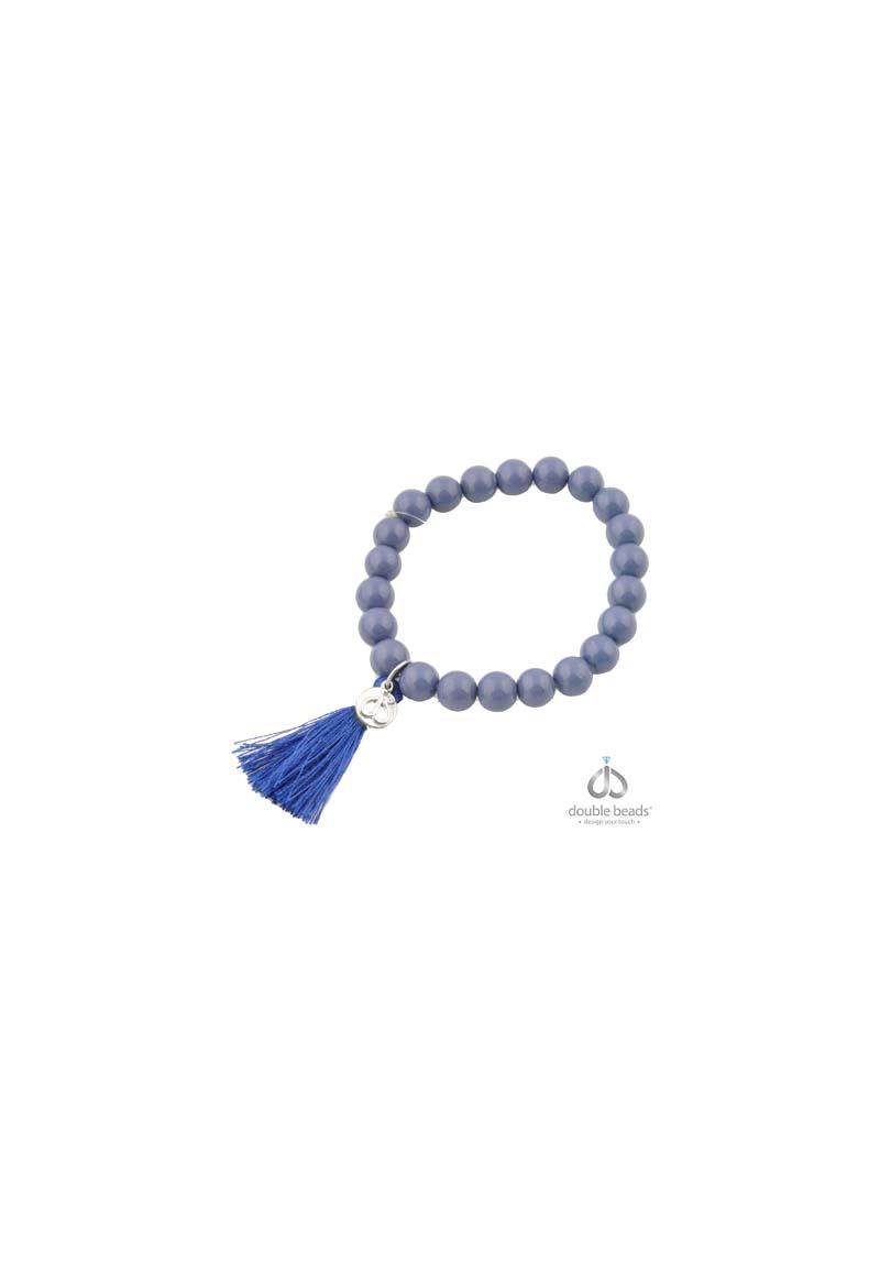 www.beadyourfashion.nl - DoubleBeads Creation Mini Sieradenpakket armband rekbaar, binnenmaat ± 18cm, met glaskralen en stoffen kwastje