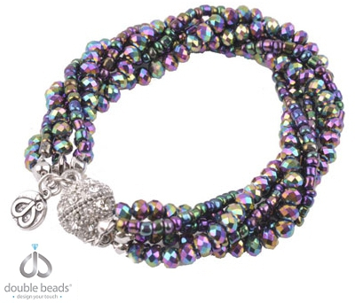 www.beadyourfashion.com - DoubleBeads Creation Mini Jewelry Kit bracelet, inner size ± 20cm, with glass crystal beads, glass seed beads and magnetic clasp with strass (warning: not to be worn by people with a pacemaker)