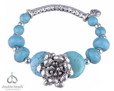 www.beadyourfashion.com - DoubleBeads Creation Mini Jewelry Kit bracelet stretchable, inner size ± 18cm, with imitation turquoise beads and metal beads