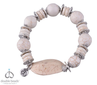 www.beadyourfashion.nl - DoubleBeads Creation Mini Sieradenpakket armband rekbaar, binnenmaat ± 19cm, met imitatie turquoise kralen en metalen kralen