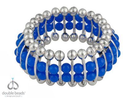 www.beadyourfashion.com - DoubleBeads Creation Mini Jewelry Kit bracelet stretchable, inner size ± 18cm, with synthetic beads and metal dividers