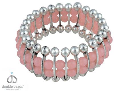 www.beadyourfashion.nl - DoubleBeads Creation Mini Sieradenpakket armband rekbaar, binnenmaat ± 18cm, met kunststof kralen en metalen verdelers