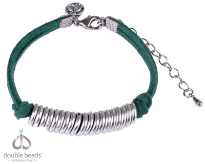 www.beadyourfashion.com - DoubleBeads Creation Mini Jewelry Kit bracelet, adjustable size ± 18-23,5cm, with imitation suede and metal accessories