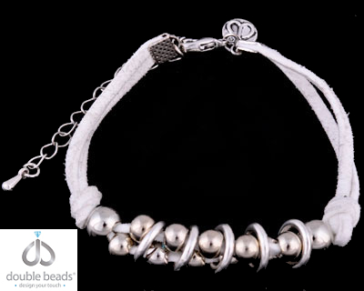 www.beadyourfashion.com - DoubleBeads Creation Mini Jewelry Kit bracelet, adjustable size ± 18,5-24,5cm, with imitation suede and metal accessories