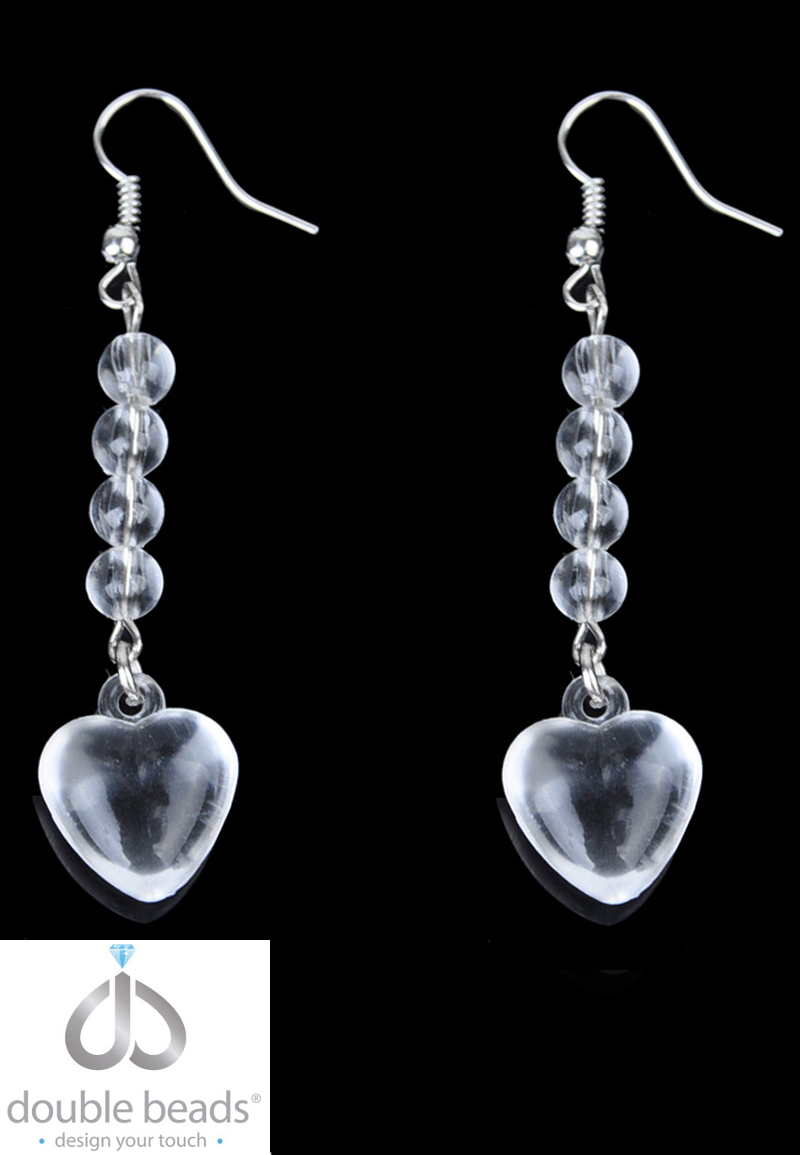 www.beadyourfashion.com - DoubleBeads Creation Mini Jewelry Kit earrings with synthetic beads and metal accessories ± 6,5cm