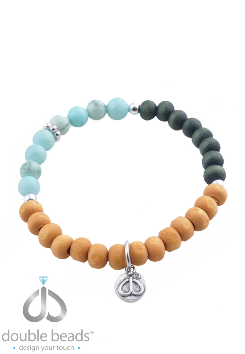www.beadyourfashion.com - DoubleBeads Creation Mini Jewelry Kit bracelet stretchable, inner size ± 16cm, with wooden beads, natural stone beads and metal accessories