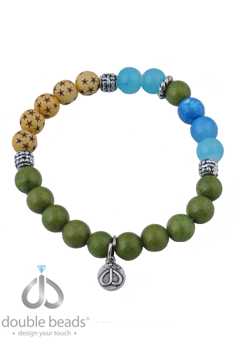 www.beadyourfashion.com - DoubleBeads Creation Mini Jewelry Kit bracelet stretchable, inner size ± 17cm, with synthetic beads, natural stone beads and metal accessories
