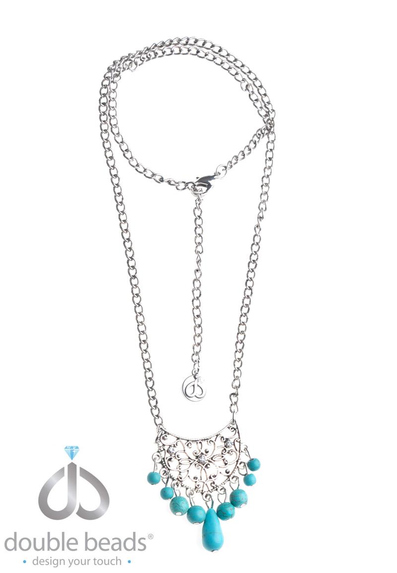 www.beadyourfashion.nl - DoubleBeads Creation Mini Sieradenpakket halsketting ± 27-57cm met imitatie turquoise kralen en metalen accessoires