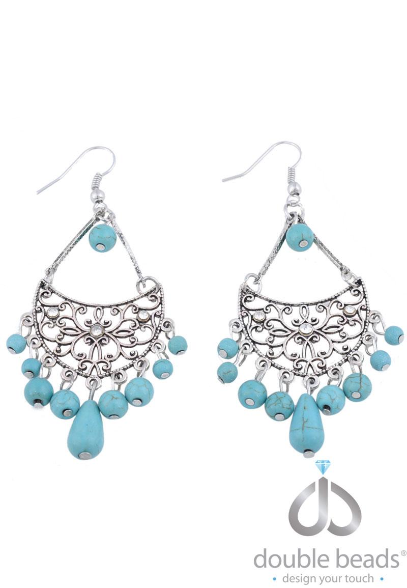 www.beadyourfashion.nl - DoubleBeads Creation Mini Sieradenpakket oorbellen ± 8cm met imitatie turquoise kralen en metalen accessoires