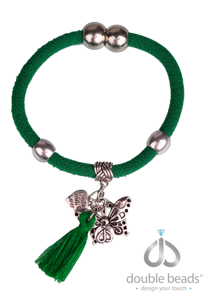 www.beadyourfashion.com - DoubleBeads Creation Mini Jewelry Kit polyester bracelet, inner size ± 17,5cm, with tassel, metal accessories and magnetic clasp (warning: not to be worn by people with a pacemaker)