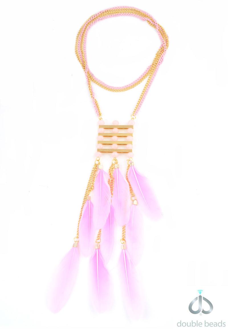 www.beadyourfashion.com - DoubleBeads Creation Mini Jewelry Kit necklace with feathers