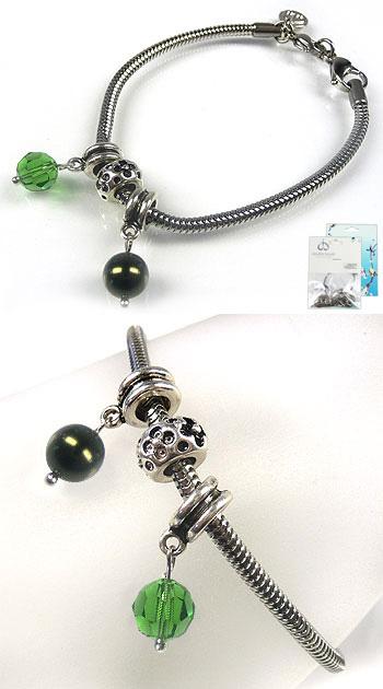 www.beadyourfashion.nl - DoubleBeads Mini Sieradenpakket groot-gat-style armband ± 18-20cm met SWAROVSKI ELEMENTS kraal, parel en diverse metalen accessoires