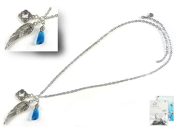 www.beadyourfashion.nl - DoubleBeads Mini Sieradenpakket halsketting ± 75cm met SWAROVSKI ELEMENTS hanger/bedel, Fancy Stone en diverse metalen accessoires (o.a. metalen hangers/bedels en metalen ketting)