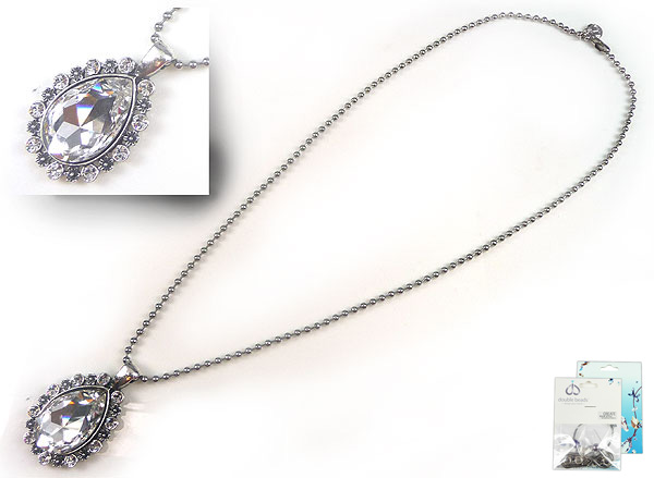 www.beadyourfashion.nl - DoubleBeads Mini Sieradenpakket halsketting ± 60cm met SWAROVSKI ELEMENTS similistenen, Fancy Stone en diverse metalen accessoires (o.a. metalen hangers/bedels en metalen ketting)