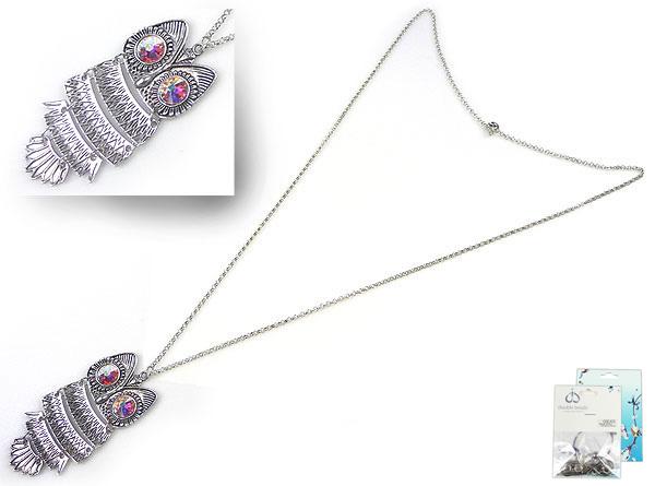 www.beadyourfashion.nl - DoubleBeads Mini Sieradenpakket halsketting uil ± 90cm met SWAROVSKI ELEMENTS plakstenen en diverse metalen accessoires (o.a. metalen hanger/bedel uil en metalen ketting)