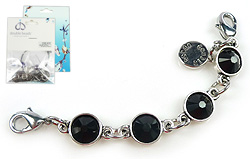 www.beadyourfashion.com - DoubleBeads Mini Jewelry Kit Mix & Match strand ± 9,5cm with SWAROVSKI ELEMENTS flat backs and various metal accessories (can be combined with other DoubleBeads Mix & Match items)