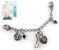 www.beadyourfashion.com - DoubleBeads Mini Jewelry Kit Mix & Match strand ± 9,5cm with SWAROVSKI ELEMENTS beads and various metal accessories (can be combined with other DoubleBeads Mix & Match items)