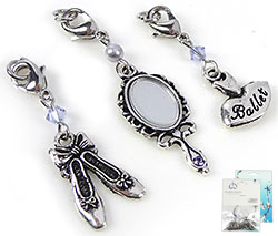 www.beadyourfashion.com - DoubleBeads Mini Jewelry Kit Mix & Match charms ballet (set of 3 pieces) ± 40-55mm with SWAROVSKI ELEMENTS beads and metal accessories (can be combined with other DoubleBeads Mix & Match items)