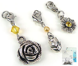 www.beadyourfashion.com - DoubleBeads Mini Jewelry Kit Mix & Match charms flowers (set of 3 pieces) ± 35-45mm with SWAROVSKI ELEMENTS beads and metal accessories (can be combined with other DoubleBeads Mix & Match items)