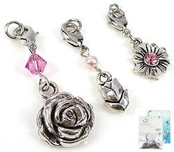 www.beadyourfashion.nl - DoubleBeads Mini Sieradenpakket Mix & Match bedels bloemen (set van 3 stuks) ± 35-45mm met SWAROVSKI ELEMENTS kralen en metalen accessoires (te combineren met andere DoubleBeads Mix & Match artikelen)