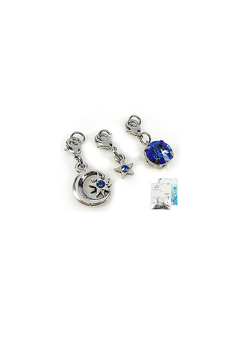 www.beadyourfashion.com - DoubleBeads Mini Jewelry Kit Mix & Match charms night (set of 3 pieces) ± 28-36mm with SWAROVSKI ELEMENTS pointed backs and metal accessories (can be combined with other DoubleBeads Mix & Match items)