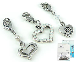 www.beadyourfashion.com - DoubleBeads Mini Jewelry Kit Mix & Match charms hearts (set of 3 pieces) ± 34-38mm with SWAROVSKI ELEMENTS beads and metal accessories (can be combined with other DoubleBeads Mix & Match items)