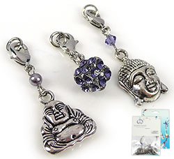 www.beadyourfashion.com - DoubleBeads Mini Jewelry Kit Mix & Match charms Buddha (set of 3 pieces) ± 32-36mm with SWAROVSKI ELEMENTS beads and metal accessories (can be combined with other DoubleBeads Mix & Match items)