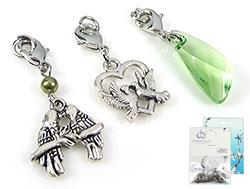 www.beadyourfashion.com - DoubleBeads Mini Jewelry Kit Mix & Match charms birds (set of 3 pieces) ± 36-42mm with SWAROVSKI ELEMENTS beads and metal accessories (can be combined with other DoubleBeads Mix & Match items)