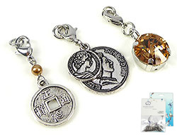 www.beadyourfashion.com - DoubleBeads Mini Jewelry Kit Mix & Match charms coins (set of 3 pieces) ± 37-42mm with SWAROVSKI ELEMENTS beads and metal accessories (can be combined with other DoubleBeads Mix & Match items)