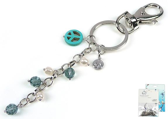 www.beadyourfashion.nl - DoubleBeads Mini Sieradenpakket sleutelhanger ± 16cm met SWAROVSKI ELEMENTS parels, kralen en diverse materialen (o.a. natuursteen kraal en metalen accessoires)