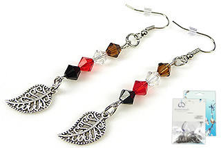 www.beadyourfashion.com - DoubleBeads Mini Jewelry Kit earrings ± 7cm with SWAROVSKI ELEMENTS beads and metal pendants/charms and accessories
