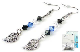 www.beadyourfashion.nl - DoubleBeads Mini Sieradenpakket oorbellen ± 7cm met SWAROVSKI ELEMENTS kralen en metalen hangers/bedels en accessoires