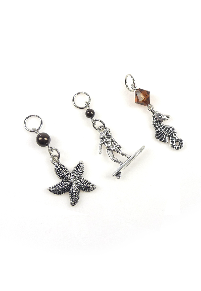 www.beadyourfashion.nl - DoubleBeads Mini Sieradenpakket EasyClip bedels strand (set van 3 stuks) ± 38-45mm met SWAROVSKI ELEMENTS kralen en metalen accessoires