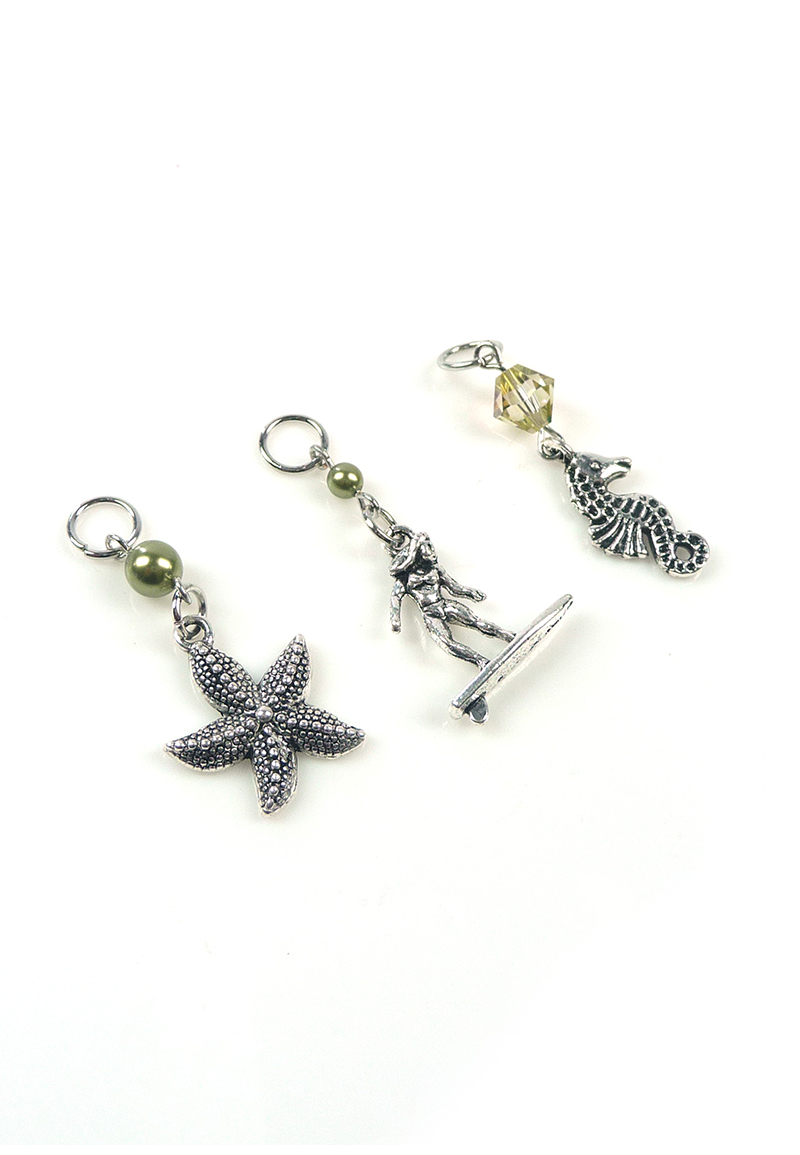 www.beadyourfashion.com - DoubleBeads Mini Jewelry Kit EasyClip charms beach (set of 3 pieces) ± 38-45mm with SWAROVSKI ELEMENTS beads and metal accessories