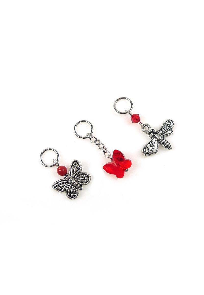 www.beadyourfashion.nl - DoubleBeads Mini Sieradenpakket EasyClip bedels vlinders (set van 3 stuks) ± 23-32mm met SWAROVSKI ELEMENTS kralen en metalen accessoires
