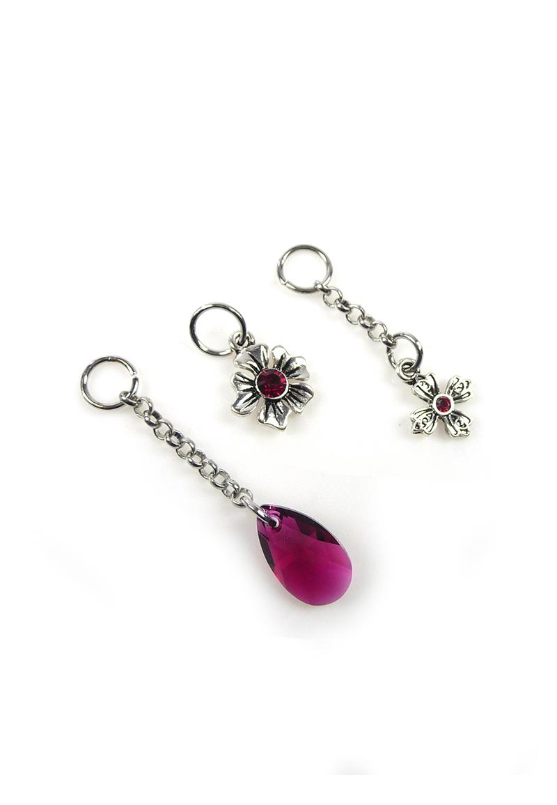www.beadyourfashion.nl - DoubleBeads Mini Sieradenpakket EasyClip bedels bloemen (set van 3 stuks) ± 21-47mm met SWAROVSKI ELEMENTS kralen en metalen accessoires