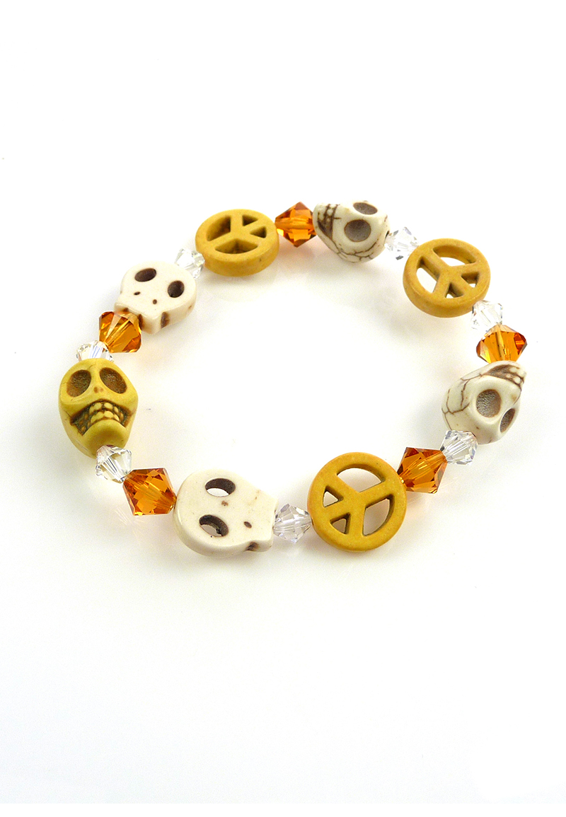www.beadyourfashion.com - DoubleBeads Mini Jewelry Kit bracelet stretchable, inner size ± 19cm with SWAROVSKI ELEMENTS beads and imitation turquoise skulls and peace signs