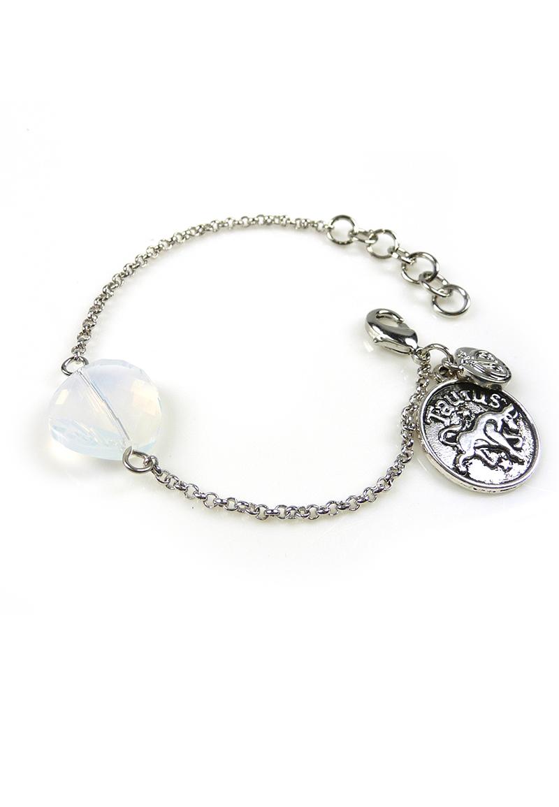 www.beadyourfashion.nl - DoubleBeads Mini Sieradenpakket sterrenbeeld armband ± 15-18cm met SWAROVSKI ELEMENTS kraal en metalen hanger/bedel sterrenbeeld Stier