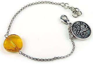 www.beadyourfashion.nl - DoubleBeads Mini Sieradenpakket sterrenbeeld armband ± 15-18cm met SWAROVSKI ELEMENTS kraal en metalen hanger/bedel sterrenbeeld Leeuw