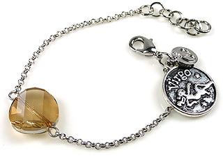 www.beadyourfashion.nl - DoubleBeads Mini Sieradenpakket sterrenbeeld armband ± 15-18cm met SWAROVSKI ELEMENTS kraal en metalen hanger/bedel sterrenbeeld Maagd