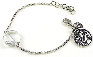 www.beadyourfashion.nl - DoubleBeads Mini Sieradenpakket sterrenbeeld armband ± 15-18cm met SWAROVSKI ELEMENTS kraal en metalen hanger/bedel sterrenbeeld Steenbok